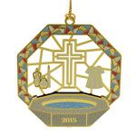 2015 ChemArt Baptismal Brass Christmas Ornament