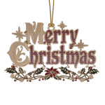 ChemArt Merry Christmas Brass Christmas Ornament