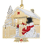 ChemArt 2018 Log Cabin Brass Christmas Ornament