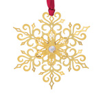 2019 ChemArt Brilliant Snowflake Brass Christmas Ornament