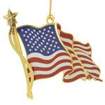 ChemArt American Flag Brass Christmas Ornament