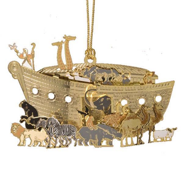 2015 Chemart Baptism Ornament: ChemArt Brass Noah's Ark Christmas Ornament