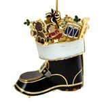 ChemArt Santa's Boot Brass Christmas Ornament