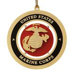 ChemArt US Marine Corps Brass Christmas Ornament