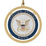 ChemArt Navy Brass Christmas Ornament