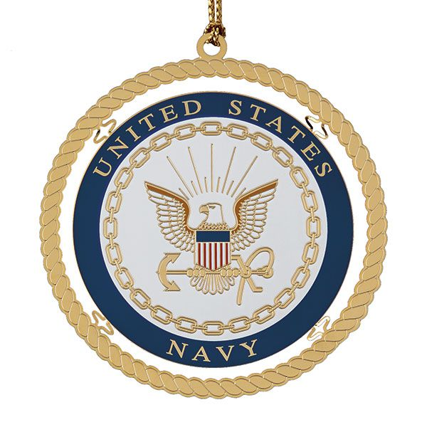 Chemart navy brass christmas ornament