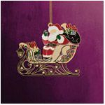 ChemArt Santa on Sleigh with Gifts Brass Christmas Ornament