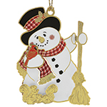 ChemArt Jolly Snowman Brass Christmas Ornament