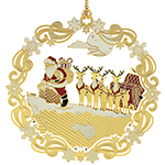 ChemArt Roof Top Santa Brass Christmas Ornament
