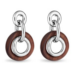 Christofle Rosewood And Sterling Silver Pendant Earrings