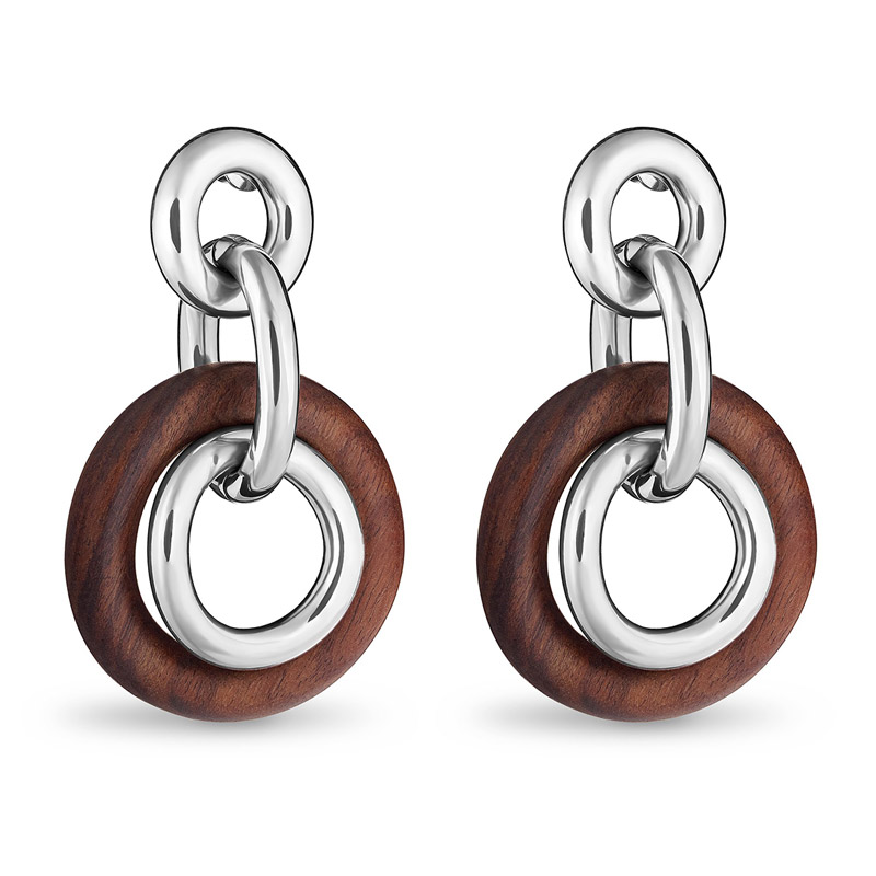 8e4e46247a357 Rosewood and Sterling Silver Pendant Earrings | Christofle | Silver ...