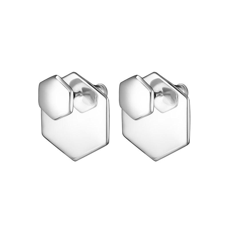 Nambe silver hexagon earrings.