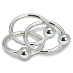 Cunill Three Ring with Ball Rattle Sterling Silver Baby Gift