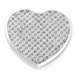 Elegance Silver White Glitter Heart Shaped Compact Purse Mirror