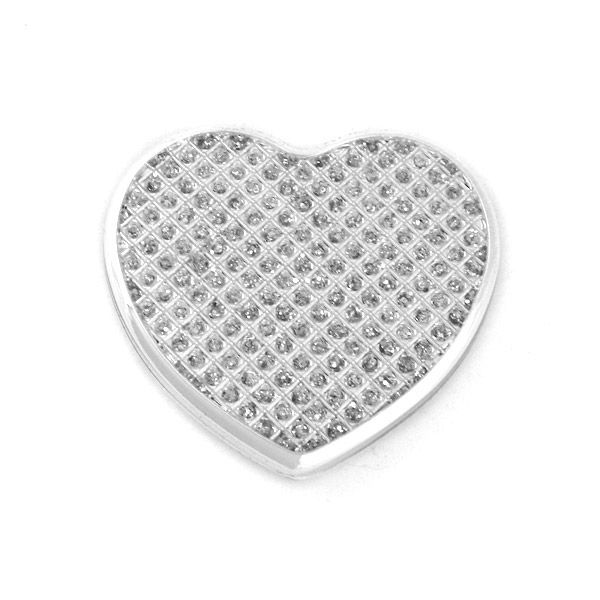 Elegance Silver Heart Shaped Purse Mirror