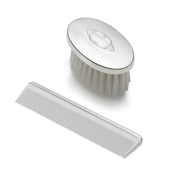 Empire Oval With Shield Design Boys Sterling Silver Brush