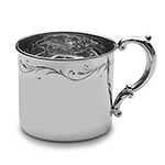Empire Silver Floral Border Sterling Silver Baby Cup