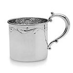 Empire Floral Border, Heavyweight Sterling Silver Baby Cup