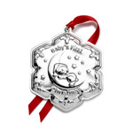 2019 Empire Sterling Silver Bear on the Moon Christmas Ornament, Personalized gift