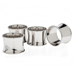 Godinger Silver Plate Beaded Round Napkin Rings, Set of 4