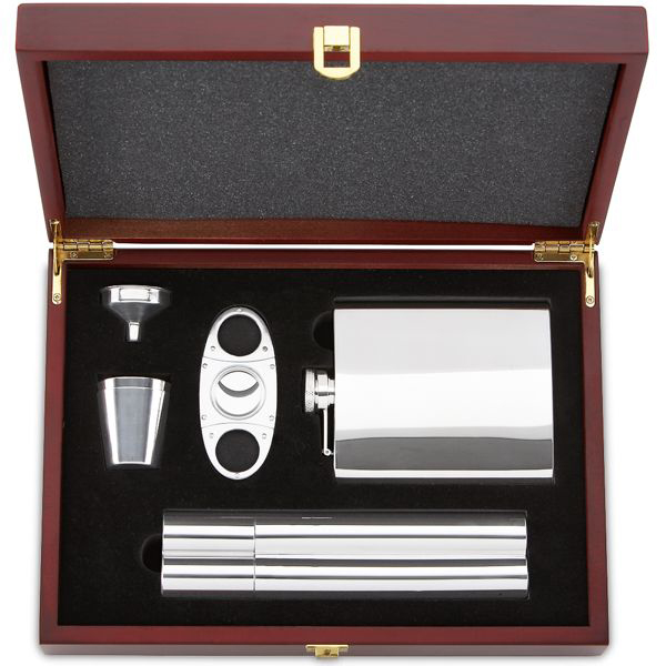 Flask And Cigar Set Stainless Steel Silversuperstore