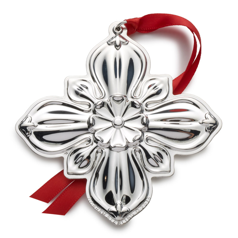Gorham christmas cross silver ornament