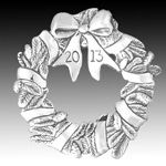 2013 Hand and Hammer Annual Wreath Sterling Silver Christmas Ornament