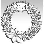 Hand and Hammer 2014 Wreath Sterling Silver Christmas Ornament