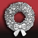 Hand and Hammer 2015 Wreath Sterling Silver Christmas Ornament