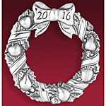 2016 Hand and Hammer Annual Wreath Sterling Silver Christmas Ornament
