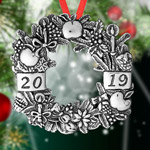 Hand and Hammer 2019 Wreath Sterling Silver Christmas Ornament