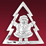 Hand and Hammer Christmas Tree Santa Clause Sterling Silver Christmas Ornament