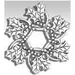 Hand and Hammer Holly Wreath Sterling Silver Christmas Ornament
