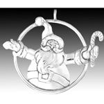 Hand and Hammer Jolly Santa Sterling Silver Christmas Ornament