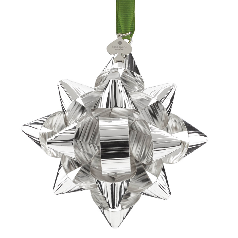 Silver Tinsel Topper | kate spade new york ornament | Silver Christmas Bow