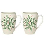 Lenox Hosting the Holidays Holly Mugs, Set of 2