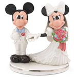 disney mickey mouse and minnie wedding cake topper, two hearts by lenox