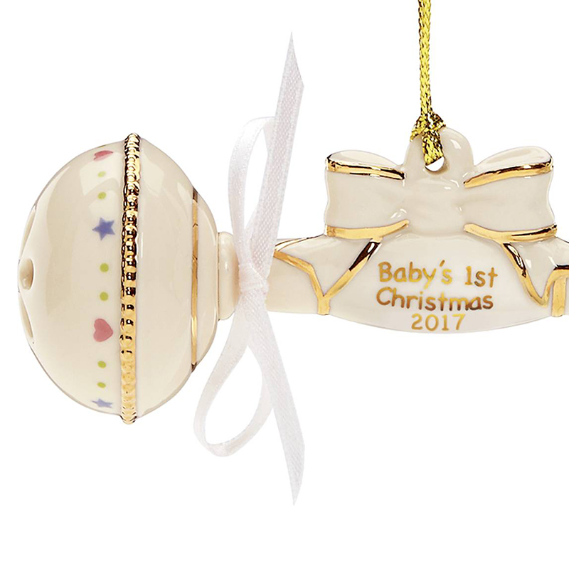 2017 Baby's First Christmas Ornament, Baby Rattle | Lenox ...