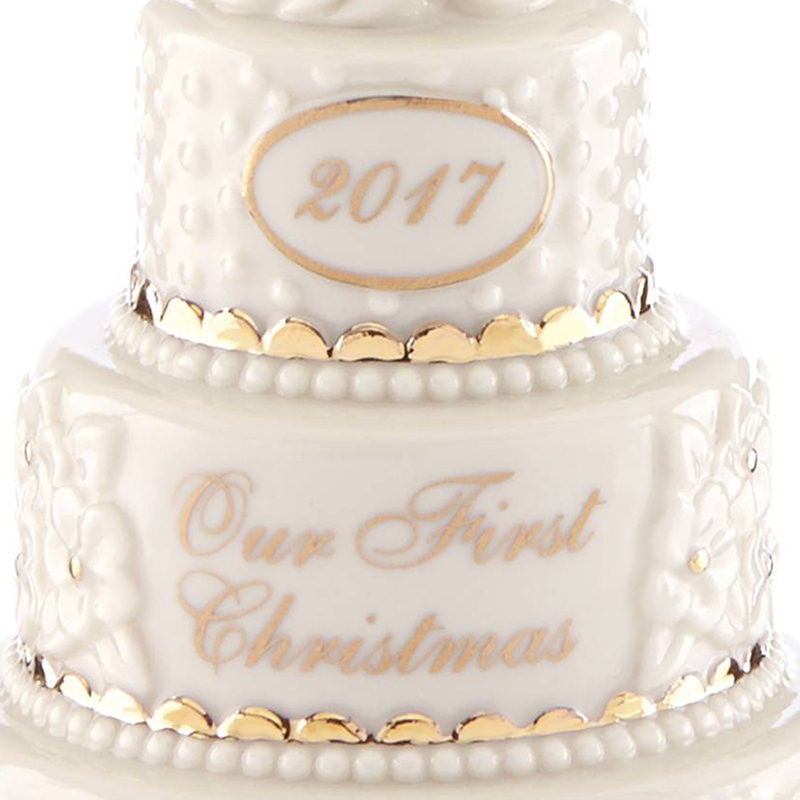 our first christmas ornament 2017  wedding cake