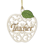 Lenox Teacher, Pierced Apple Ornament