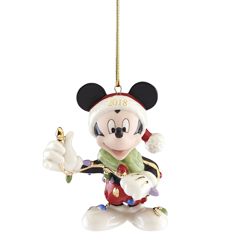 Merry and Bright Mickey Mouse Ornament 2018 | Lenox ...