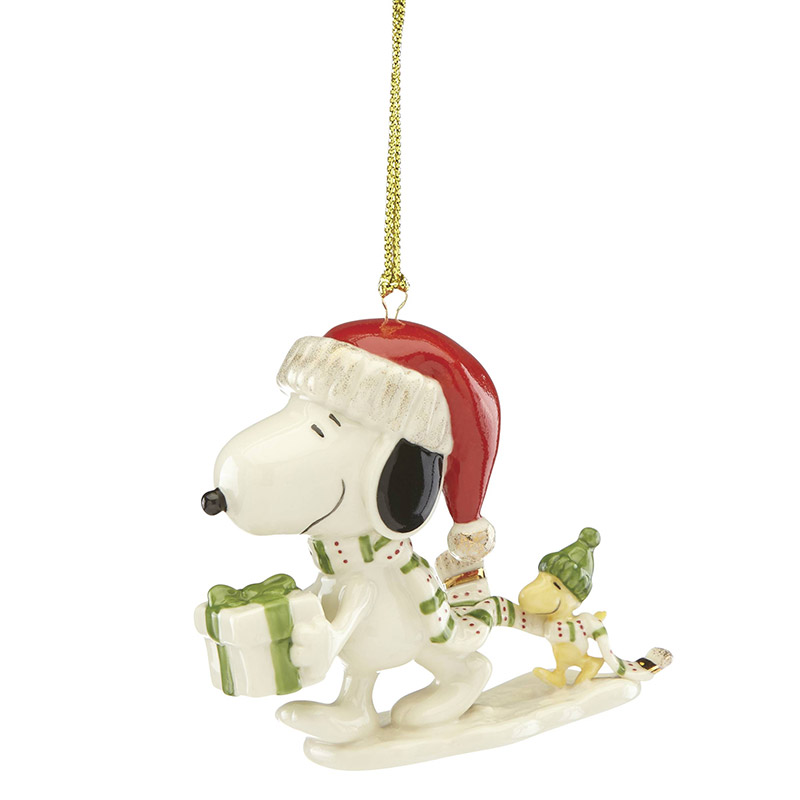 Snoopy And Woodstock Christmas Ornaments.Snoopy S Holiday Giftporcelain Christmas Ornament By Lenox