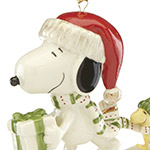 Snoopy's Holiday Gift | Lenox Christmas Tree Decoration | Snoopy and Woodstock