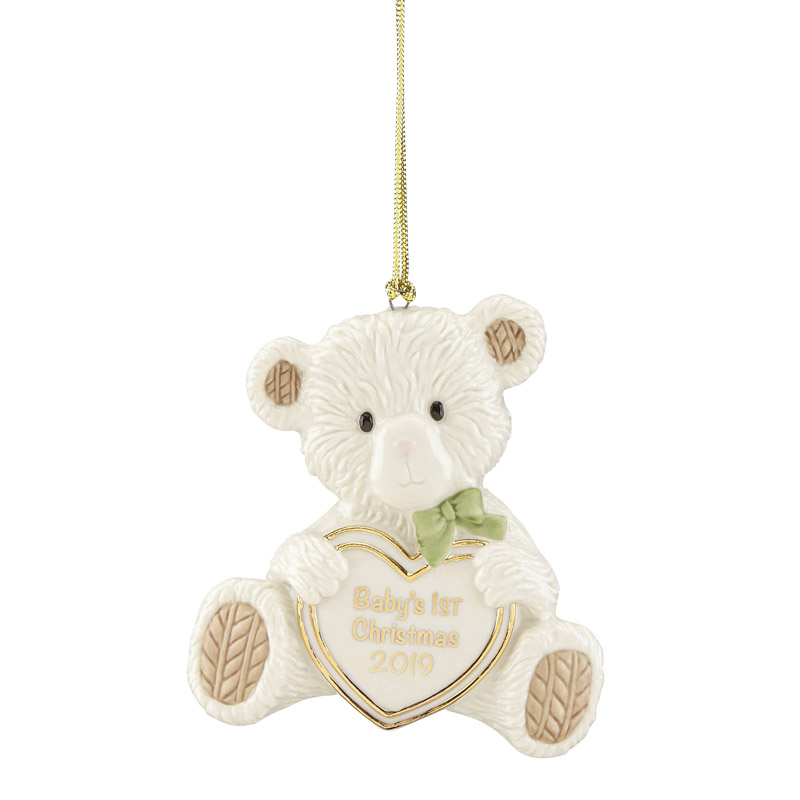 First Christmas Ornament 2019 Baby's First Christmas, Teddy Bear Ornament 2019 | Lenox Christmas