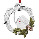 2014 Lenox Bless This Home Silver Christmas Ornament