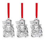 Lenox Snowmen Set of Three Silverplate Christmas Ornaments