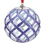 2014 Lenox Purple Woven Ball Lit Christmas Ornament