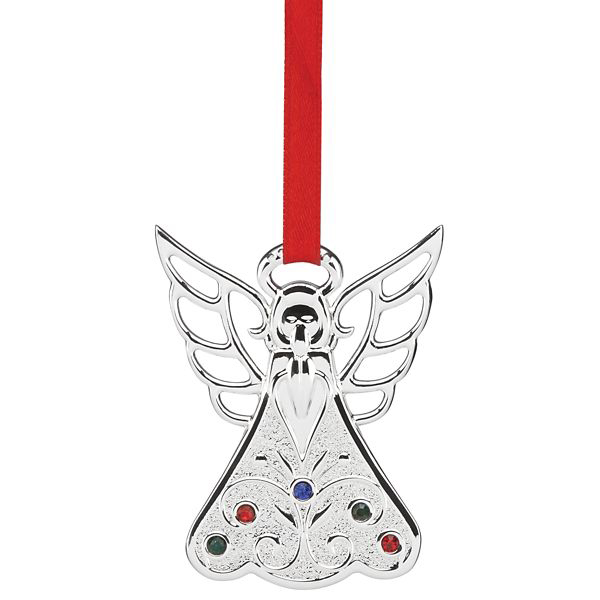 2016 Lenox Jeweled Angelsilver Plate Christmas Ornament By Lenox