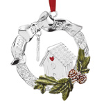 2016 Lenox Bless This Home Silver Christmas Ornament