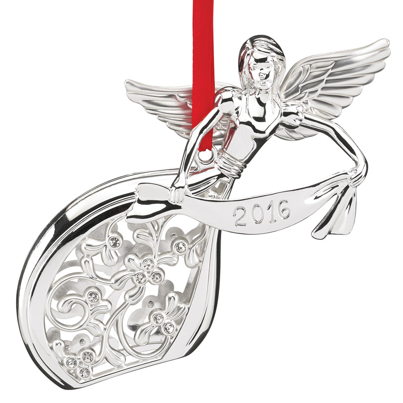Lenox Silver Angel Christmas Tree Decoration | Lenox Christmas Ornaments |  Lenox Silver Angel Ornament